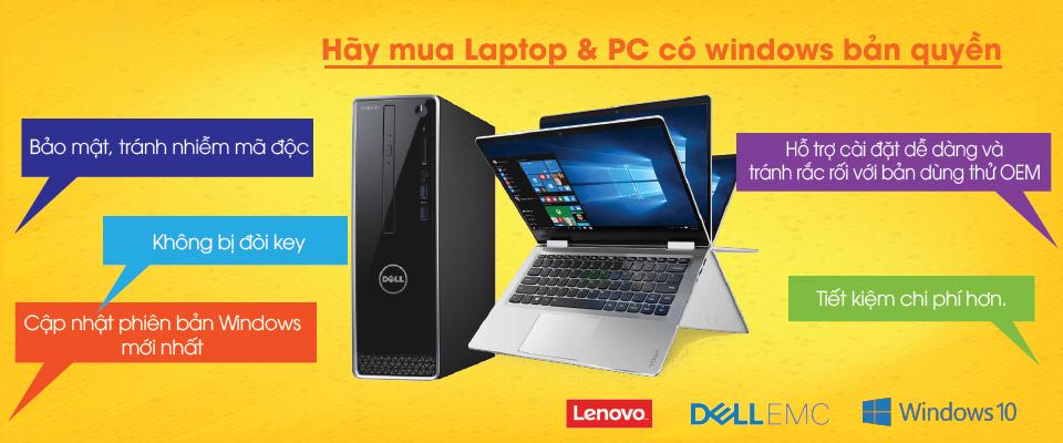 Hãy mua Laptop & PC có bản quyền