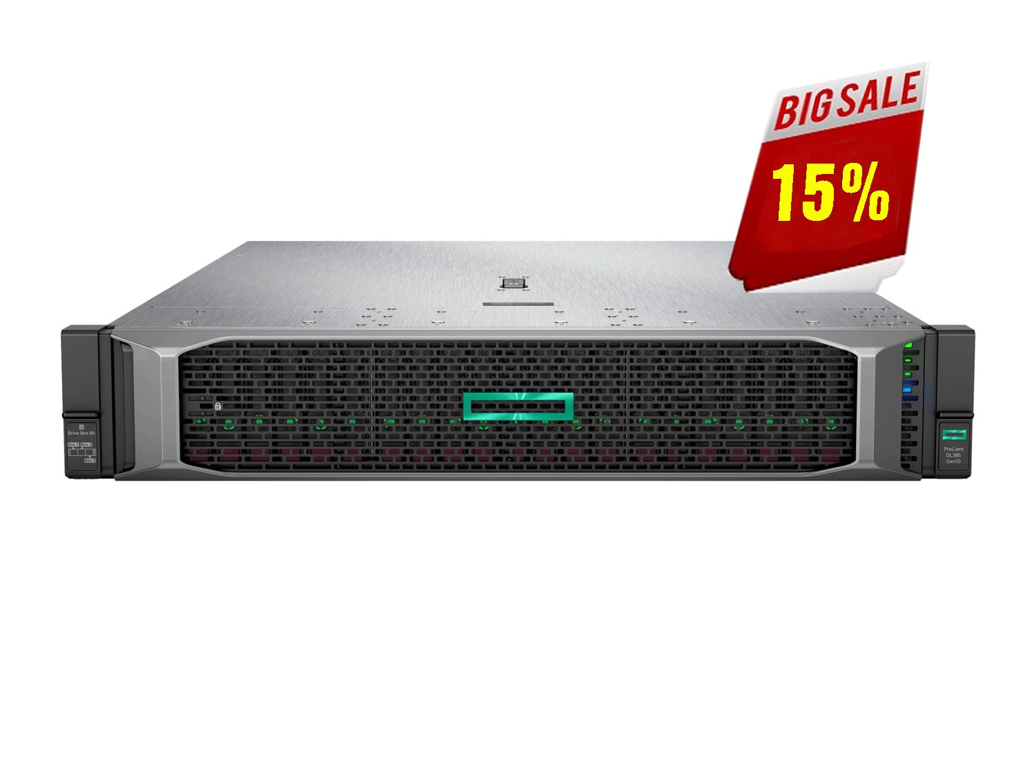 HPE DL385 Gen10 8SFF Server, 2xAMD EPYC 7282 (2.8GHz/16-core/120W), 2x16GB RAM, 1x600GB HDD, SA P408i-a SR SAS/SATA, 2x800W PS, 3Y WTY