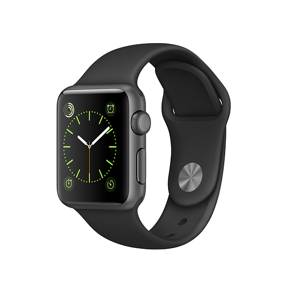 Apple Watch Series 1, 38mm Space Grey Aluminium Case with Black Sport Band (MP022VN/A)