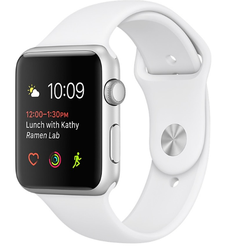 Apple Watch Series 1, 42mm Silver Aluminium Case with White Sport Band (MNNL2VN/A)