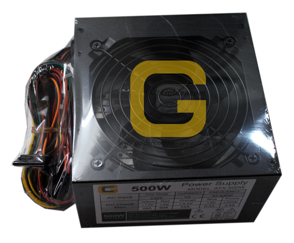 Nguồn GoldenCom 500W 24Pin,2SATA,support Slim ATX