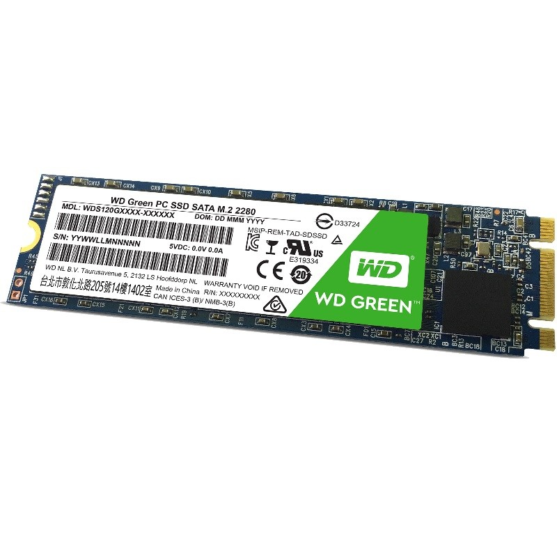 WD Green SSD 120GB / M2-2280/ Read up to 540MB / Write up to 430MB / up to 37K/63K IOPS (màu xanh) WDS120G1G0B