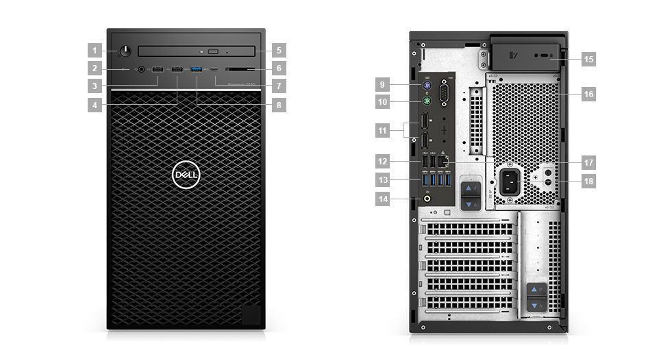 Dell Precision Tower 3630 CTO BASE - i7 8700K_T3630-I78700K-8GB-1TB-UB-P620-3Y 42PT3630D03 (Mini Tower)